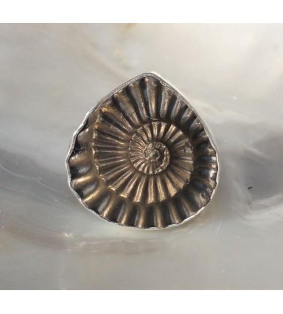 Bague argent bijoux artisanaux pyrite fossile ammonite shantilight