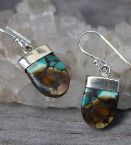 Boucles d'oreilles ethnique bijoux argent pierre naturelle de turquoise tibétaine shantilight
