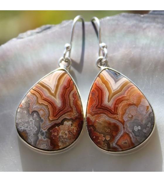 Boucles d'oreilles argent bijoux ethnique agate crazylace shantilight