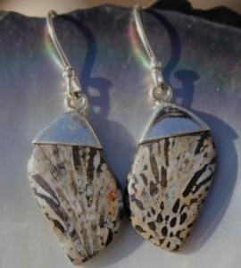 Boucles d'oreilles argent bijoux ethniques artisanaux fossile pierres shantilight