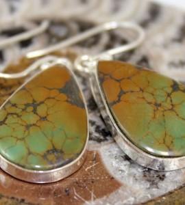 Bijoux ethniques boucles d'oreilles pierres turquoise shantilight