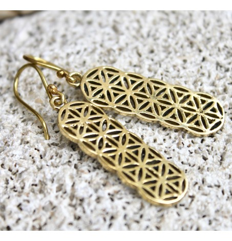 Boucles d'oreilles métal laiton géométrie sacrée fleur de vie shantilight