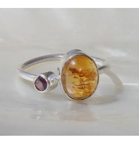 Bague argent bijoux duo de pierres naturelles de citrine et grenat shantilight