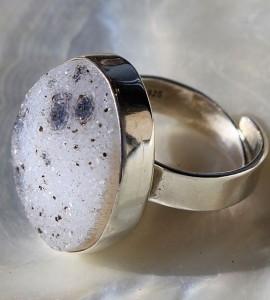 Bague argent bijou ethnique pierre brute agate shantilight
