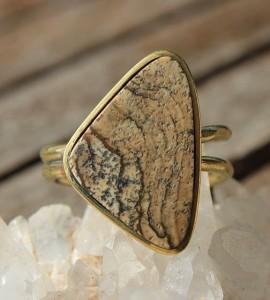 Bijoux ethnique bague laiton pierre naturelle shantilight