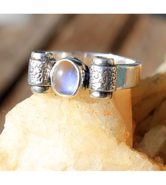 bague ethnique bijoux argent pierre de lune Shantilight