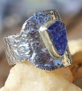 Bague argent bijoux créateur pierre bleue tanzanite shantilight