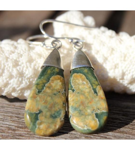 boucles d'oreilles jaspe bijoux argent ethnique shantilight