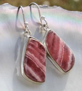 Boucles d'oreilles argent bijoux pierres naturelles rhodochrosite shantilight