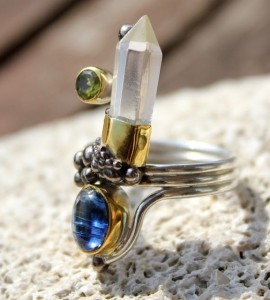 Bague steampunk argent, or,...