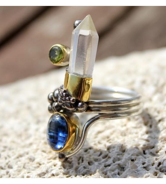 Bague ethnique, bijoux moderne steampunk pierres naturelles shantilight