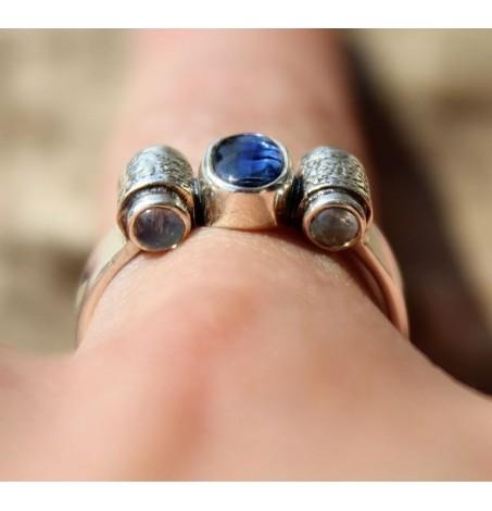 Bague argent bijoux steampunk pierres naturelles cyanite, pierre de lune shantilight