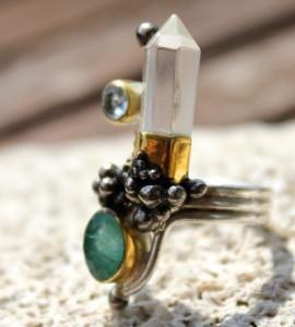 Bague steampunk ethnique argent pierres naturelles shantilight
