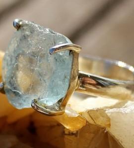 Bague ethnique bijoux argent pierre brute aigue marine shantilight