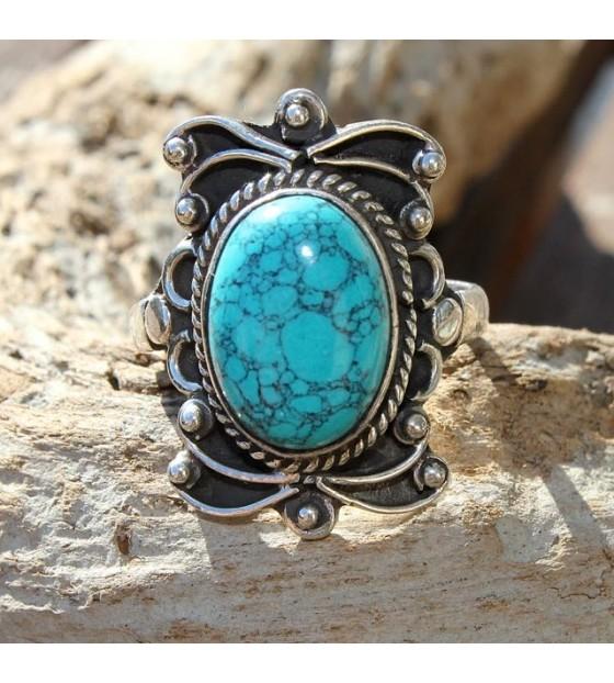 Bague ethnique bijoux argent turquoise shantilight
