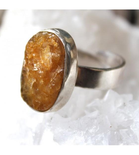 Bijoux ethnique bague argent pierre naturelle citrine shantilight