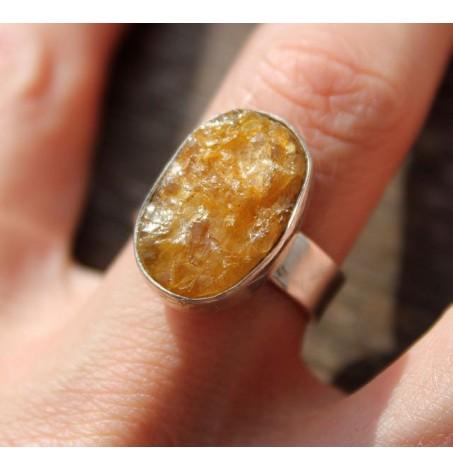 Bague ethnique bijoux argent pierre brute naturelle citrine shantilight