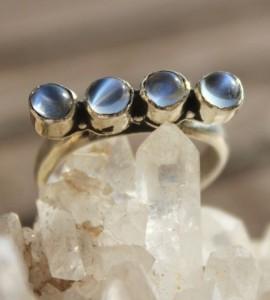Bijoux ethnique bague créateur argent pierre de lune shantilight
