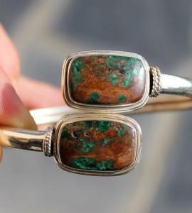 Bijoux ethnique, bracelet jonc argent pierre naturelle shantilight