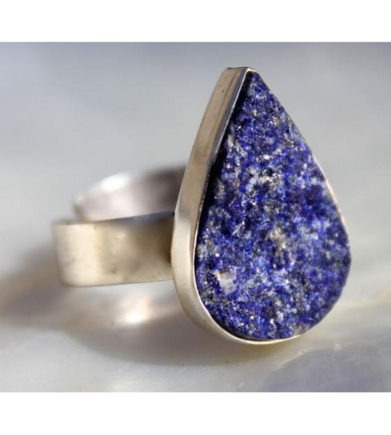 Bijoux ethnique bague argent pierre bleue lapis-lazuli shantilight