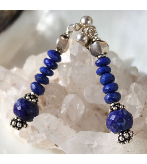 Boucles d'oreilles ethniques chic lapis lazuli argent shantilight