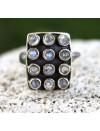 bague argent bijoux ajustable pierres de lune arc en ciel peristérite shantilight
