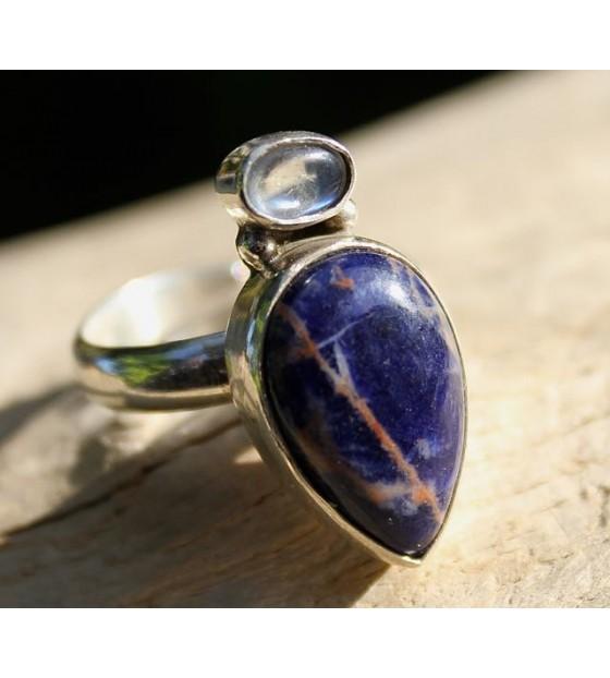 Bijoux argent bague peristerite et sodalite shantilight
