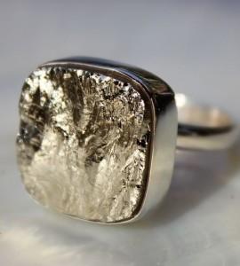 Bague ethnique bijoux argent pierre de pyrite shantilight