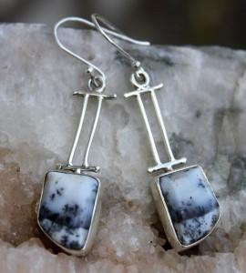 Boucles d'oreilles argent pierres naturelles agate dendritique shantilight