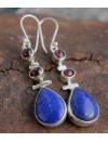 Boucles d'oreilles argent triptik pierres naturelles grenat lapis lazuli shantilight