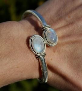 Bijoux argent bracelet duo pierres naturelles péristérite shantilight