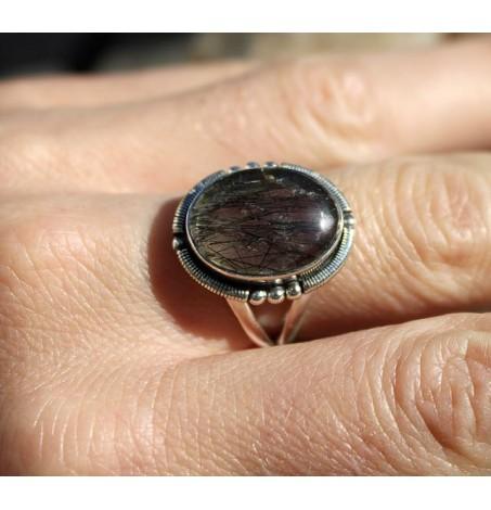 Bague argent bijoux chic pierre naturelle quartz rutilé tourmaline shantilight