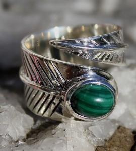 Bague argent ajustable pierre de turquoise plume ajustable