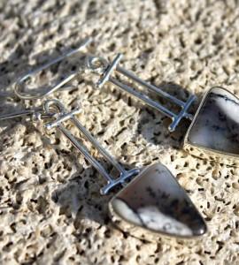 bijoux ethnique boucles d'oreilles agate opaline shantilight
