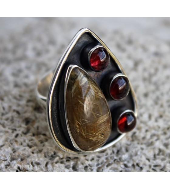 Bijoux ethnique pierres naturelles bague argent shantilight