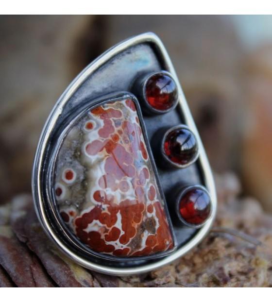 Bijoux argent bague ethnique pierres naturelles rouge shantilight