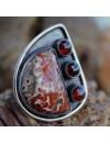 Bijoux ethnique bague argent oxydé pierres jaspe rouge et grenat shantilight