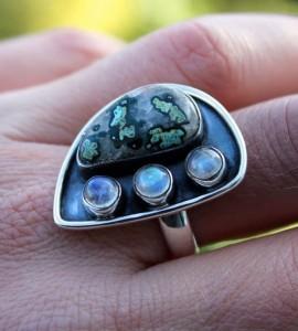 Bague vintage bijou argent pierre shantilight