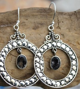 Bijoux ethnique boucles argent quartz rutilé shantilight