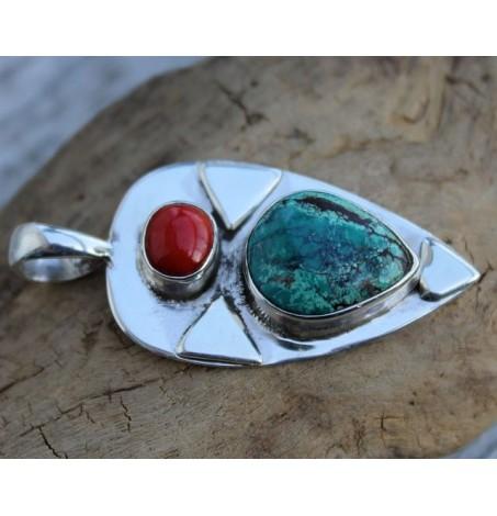 Pendentif argent bijoux ethnique homme femme turquoise corail shantilight