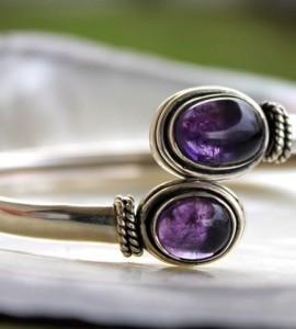 bijoux argent bracelet jonc pierre améthyste shantilight