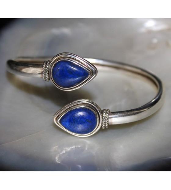 bracelet jonc argent lapis lazuli shantilight