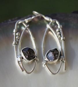 Bijoux argent boucles d'oreilles pierres quartz tourmaline