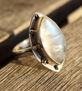 Bijoux ethnique bague argent pierre d lune shantilight