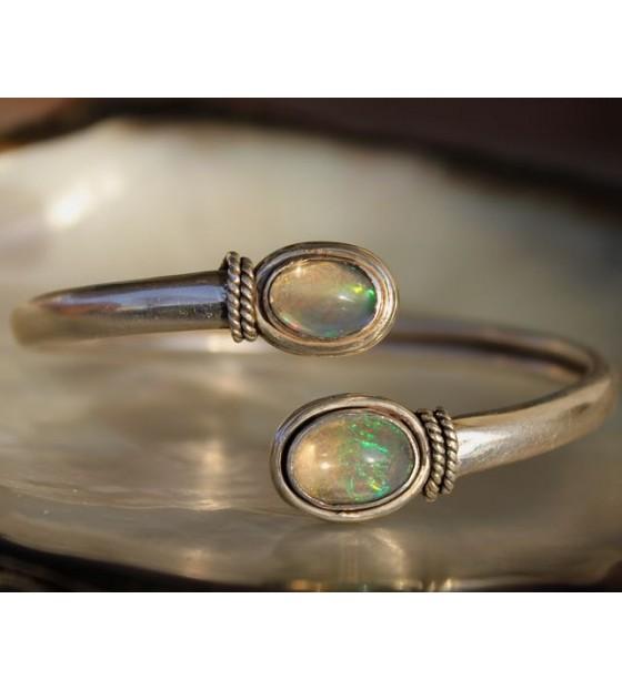 Bracelet jonc argent opale shantilight