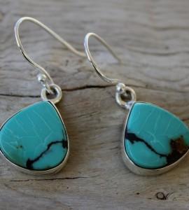 Bijoux ethnique boucles pierres naturelles de turquoise shantilight