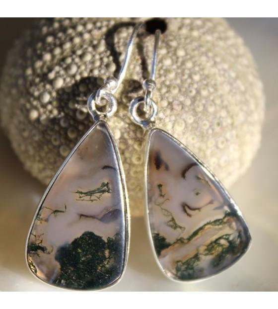 Boucles d'oreilles ethnique pierre agate mousse Shantilight