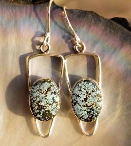 Bijoux ethnique boucles d'oreilles argent turquoise Shantilight