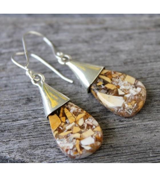 Bijoux argent boucles pierres naturelles jaspe Shantilight