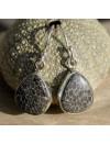 Boucles d'oreilles argent pierre naturelle corail noir fossilisé shantilight